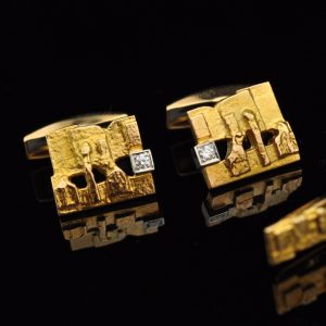 Björn Weckström - Lapponia 585 gold cufflinks and tieclip with diamond