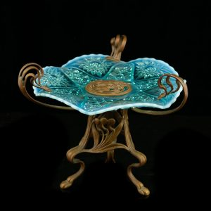 Art Nouveau centrepiece , bronze blue glass