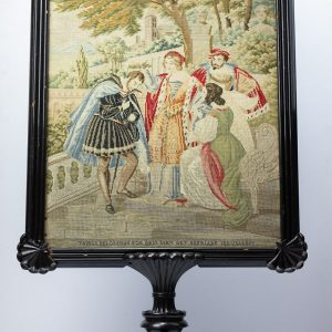 Antique screen, gobelin with wood frame