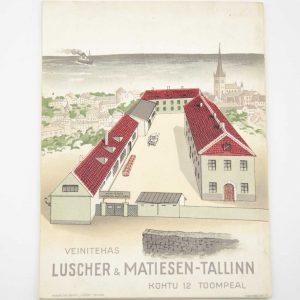 """VEINITEHASE REKLAAMI VOLDIK """"LUSCHER & MATIESEN TALLINN"""" 1910-1935a BRONEERITUD"""