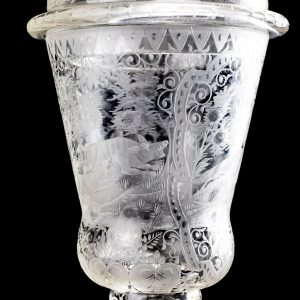 Antique lidded hunting chalice, engraved crystal