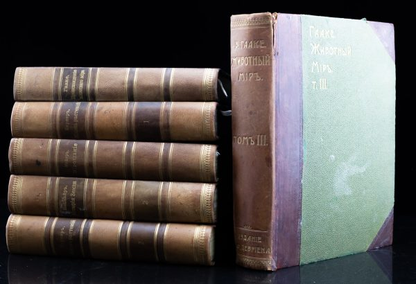 """Antique Imperial Russian Book """"Nature, plants"""" 1902-1903 , set of 6"""