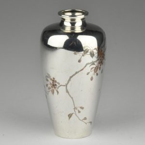 MITSUKOSHI - Antique Japanese Silver Vase, Japan bronze inlay , early 20th c.