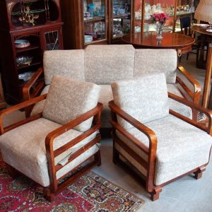Art deco sofa set with 2 armchairs