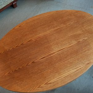 Oval shaped wood coffee table