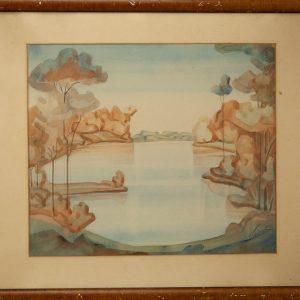 """Paul Liivak (1900-1942)""""Järv"""" akvarell"""