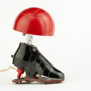 Miniature vintage table lamp , plastic, footballer boot