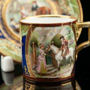Antique Vienna porcelain mocca cup with saucer