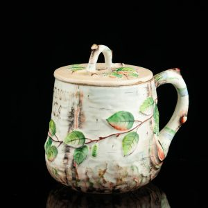 Antique Russian porcelain lidded hot chocolate cup