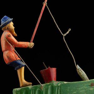 """Antiikne puidust mänguasi """"Kalamees"""""""