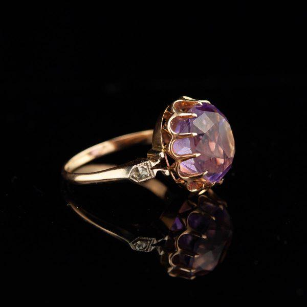 Kuldsõrmus ametüst,teemant