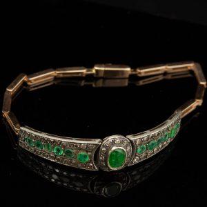 Antiikne kuld käevõru, smaragd ja teemandid