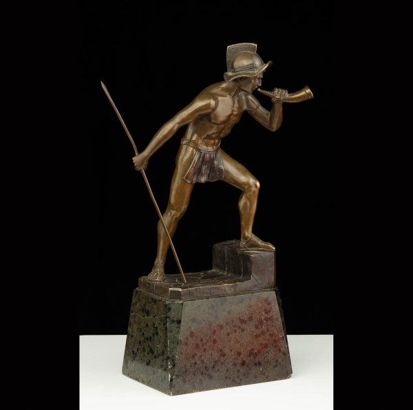 """Antiikne figuur """"Sõdalane"""" pronks marmor alusel, signeeritud"""