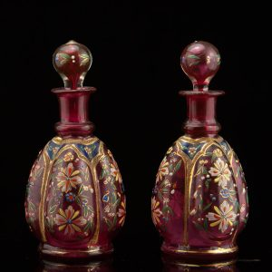 Antique pair of perfume bottles, hand decorated, gilt