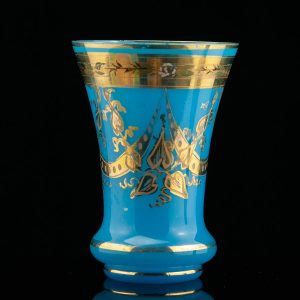 Antique blue vase , handpainted