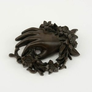 Antique wood brooch - hand
