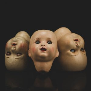Antique German porcelain doll heads