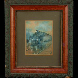 Antique Russian painting of a train