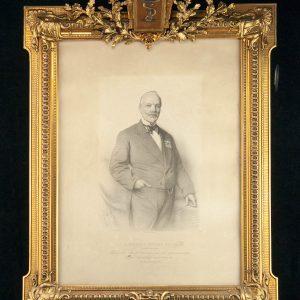 Antiikne meditsiini sümboliga pildiraam, Norbert Cille-pharmacien,litograafia 1881a