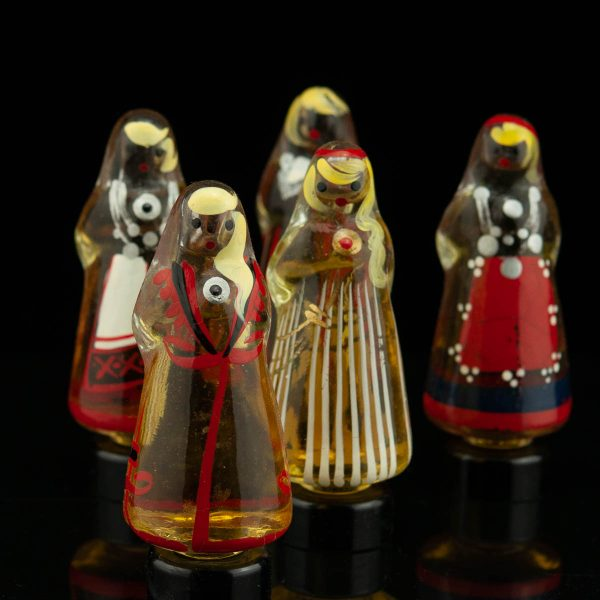 Vintage perfume bottle set, glass, women figures in national clothes