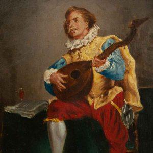 Antique painting Mandolin player