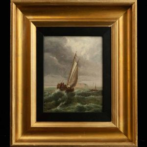 Antique painting of a ship on the sea