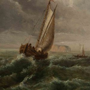 Antiikne maal Purjekas merel