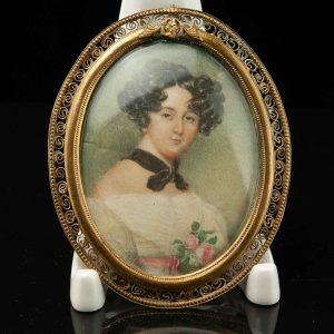 Antique miniature portrait of a woman