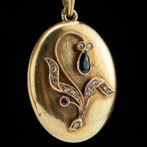 Tsaari-Vene medaljon, 56 kuld, safiir, rubiin