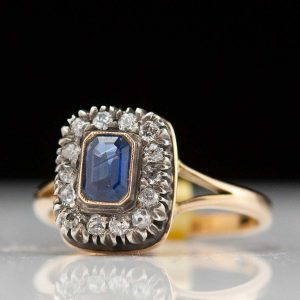 Antique Imperial Russian ring with sapphires and diamonds