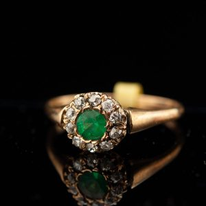 Antique Imperial Russian 56 gold ring with emerald and diamonds