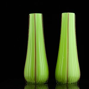 Pair of green glass Art Deco vases