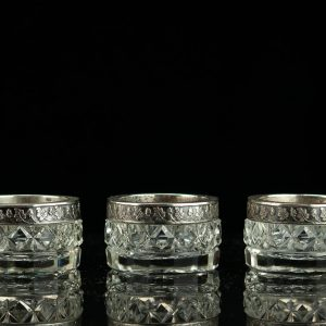 Antique Estonian silver and crystal salt cellars