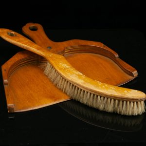 Antique wood table brush and scoop