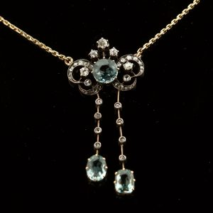 Antique Imperial Russian necklace with diamonds and aquamarines