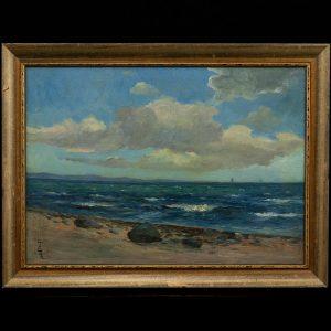 Antique sea oil painting 1917