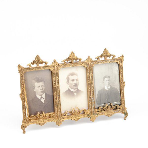 Antique bronze photo frame for three photos