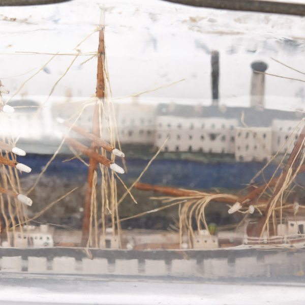 Maritime antique ship model inside a bottle