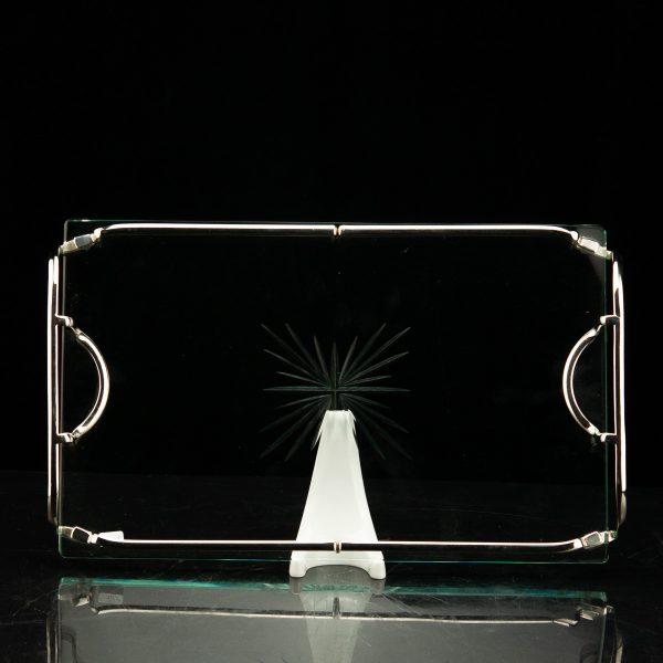 Art Deco kandik,klaas ja metall