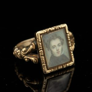 Antique gold ring with miniature portrait