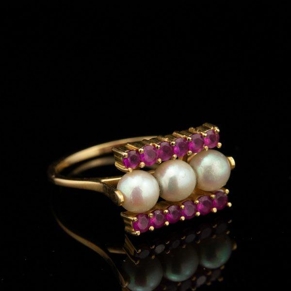 Sõrmus, 585 kuld, pärlid, sünt. rubiinid