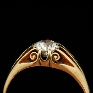Gold ring with 0.75 ct diamond, certificate