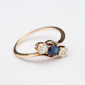 Antique Russian gold ring sapphire and diamonds