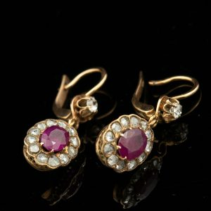 Antique Imperial Russian gold earrings with rubys and diamonds