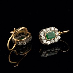 Imperial Russian gold earrings with emeralds and diamonds