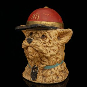 Antique terracotta tobacco jar , fireman dog head figure
