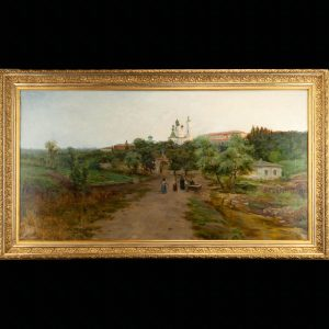 Antique Russian oil painting of a monastery