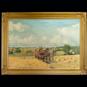 Antique oil painting of horses on a field