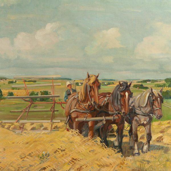 Antiikne õlimaal Hobused heinamaal