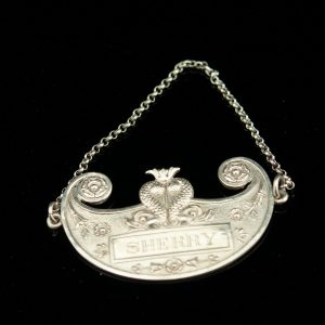 Antique 1896 Swedish silver bottle sign of a chain